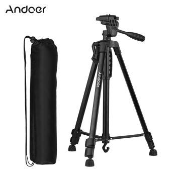 Andoer Aluminum Alloy + ABS Tripod Stand Height 135cm/53in with Carry Bag Phone Holder for Canon Sony Nikon DSLR Camera Stand