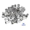 50Pcs M3 M4 M6 M8 M10 Flat Head Rivet Nuts Set Aluminum Alloy Rivet Nuts Nut Insert Riveting Set