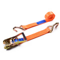 "2"" 5T 50mm Middle Plastic Handle Ratchet Buckle Tie Down Orange Straps With 2 Inch Single J Hooks"