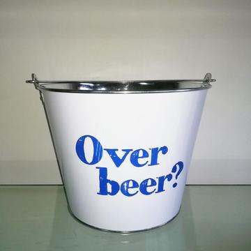 Round tin ice bucket for home