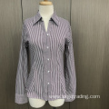 V collar yarn dyed stripe long sleeve shirt