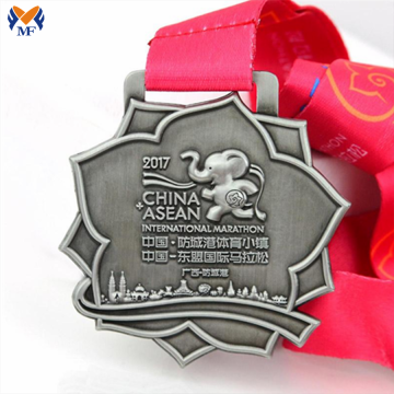 Custom made silver marathon award medals