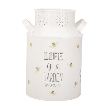 White Powder Coated Milk Can Flower Jug