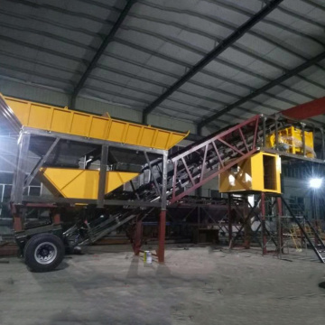 Efficiency 25m3/h mobile concrete batching mixing plant