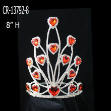 2015 New Fashion Rhinestones Red Heart Crowns