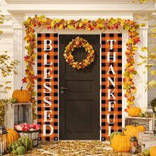 Thanksgiving Porch Sign Blessed Thankful Check Plaid Banners Front Door Hanging Sign for Home Decoration 30*180 cm