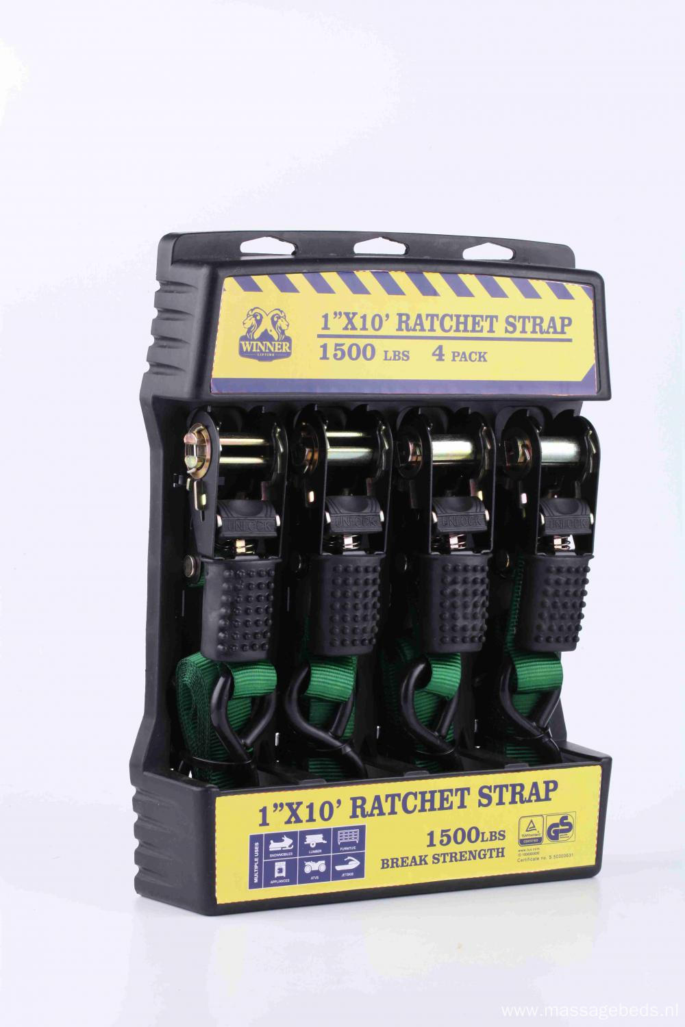 1''X10' 1500lbs Ratched Lashing Belt Kit  4 sets