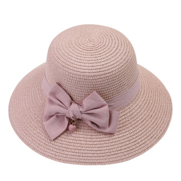 Candy color straw beach hat with striped design