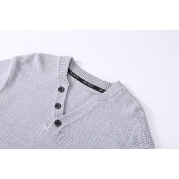 Men's Knitted Henley Button Neck  Textured Front Pullover
