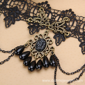 Resin Rhinestone Charm Lace Choker Necklace Gothic