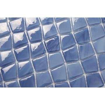 Blue irregular pattern glass mosaic tiles for bathroom