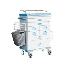 Tianao Hospital Steel ABS 8-Drawer Anesthesia Trolley