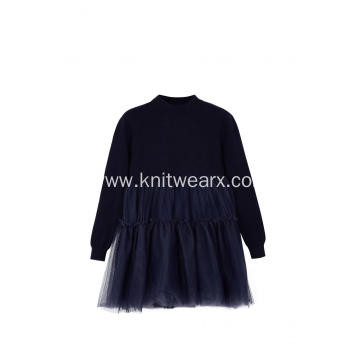 Girl's Knitted Top Crepe Hem Spring Dress