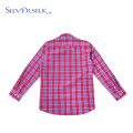 Rose Red Plaid Long Sleeve Blouse Kids Shirt