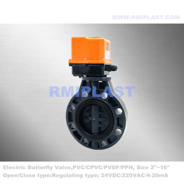 Plastic Butterfly Valve Electric Actuated