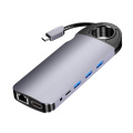 10 in 1 Aluminum Alloy USB Type C Hub USB C to Multi USB 3.0 PD 3.5mm Jack TF VGA HDMI Adapter 1Gbps RJ45 Network Card for PC Co