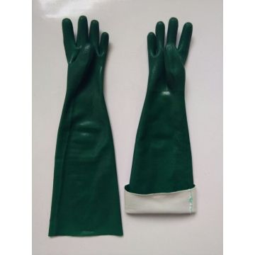 Green pvc dipped gloves jersey liner sandy finish