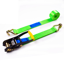 "2"" 5000kgs 50mm Yellow Finger Handle Ratchet Buckle Cargo Lashing Straps With 2 Inch Double J Hooks"