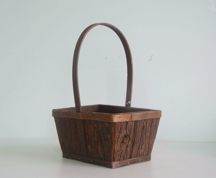 rectangular wood bark collecting basket-2