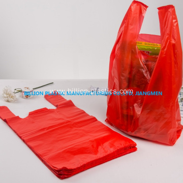 Red HDPE Vest Shopping Bag