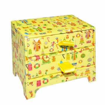 Put Christmas Gift Paper Box Package with Ribbion