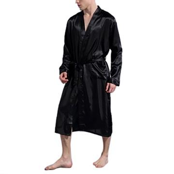 Men's Silk Satin Bathrobe Robe Long Solid Silk Pajamas Men Silk Nightgown Sleepwear kimono homme Gown USA Stock