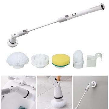 Electric Spin Scrubber Turbo Scrub Cleaning Brush Cordless Chargeable Bathroom Cleaner with Extension Handle Adaptive Brush Tube