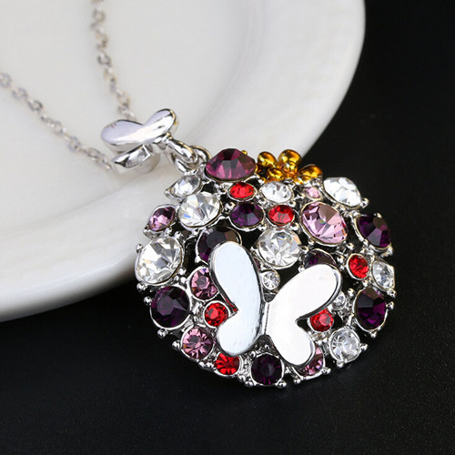2018 New arrival silver ball pendant with flower necklace