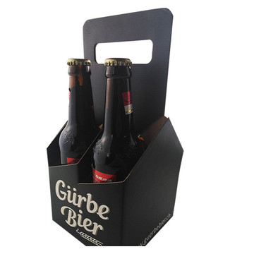Custom 4 Pack Cardboard Wine Bottle Carrier Box