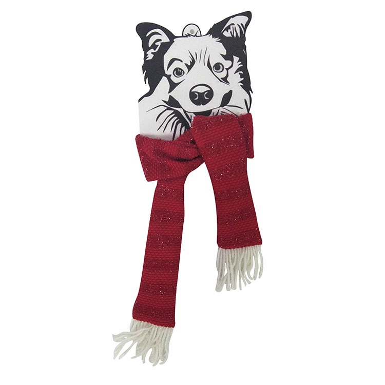 Christmas dog knit scarf red A