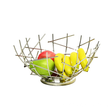 Fruit Basket Creative Geometry Countertop  Stainless Steel Vegetable Bowl Kitchen Storage Wire Fruit Basket