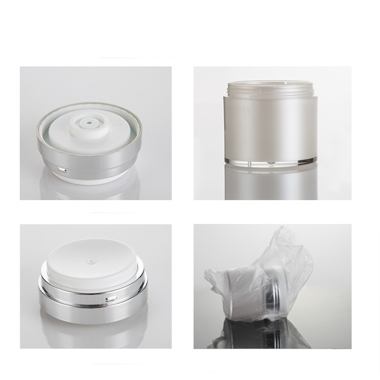 Silver acrylic cosmetic airless jar