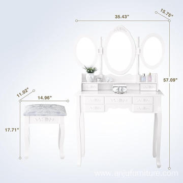 tri folding mirror vanity makeup table set 7 drawer dressing table with stool white