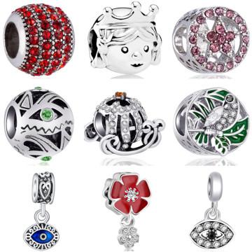 Fresh Style Long Statement Enamel Wing Bear Dog Cross Pumpkin Car Star Beads Fit Pandora Charms Bracelets for Women DIY Trinket