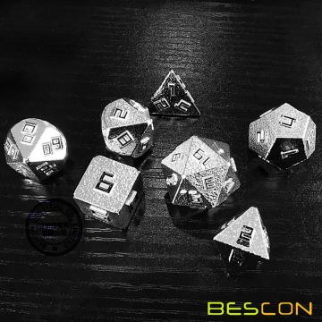 Bescon Raw Metal Polyhedral D&D RPG 7-Dice Set, Shiny Silver-Ore Lode Solid Metal Dice Set