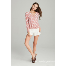 ladies woven polyester chiffon printed blouse