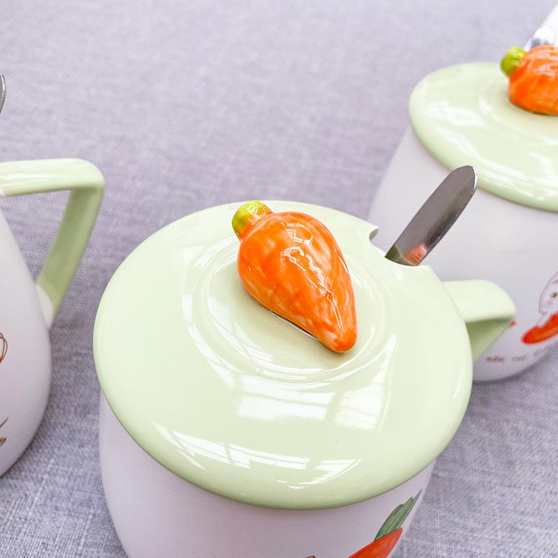 2020 small fresh Korean radish rabbit ceramic cup, with lid with spoon Mug lovely student tea milk coffee cup