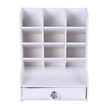 DIY Multifunctional Pen Box Holder Pen Display Cabinet with Drawer Office School Accessories Desktop Storage Rack