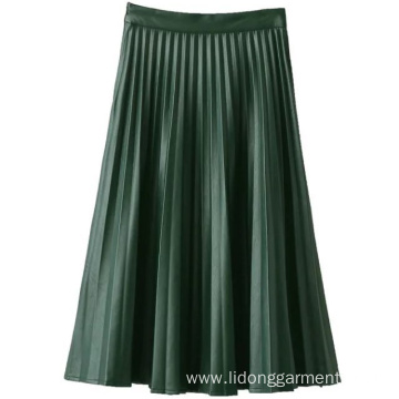 Customized Printed PU Leather Pleated Skirt