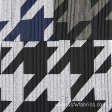 Grey Black Special Rib Pattern Geometric Print Fabric