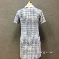 Women's polyester yarn dyed short sleeves dress
