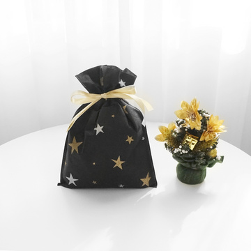 Medium Gold Star Black Christmas Gift Bag