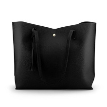 Fashion Tassels Tote Bag Large Black Lady Bag