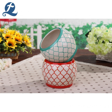 Stripe Design Safe Transportation Ceramic Garden Planting Flowerpot