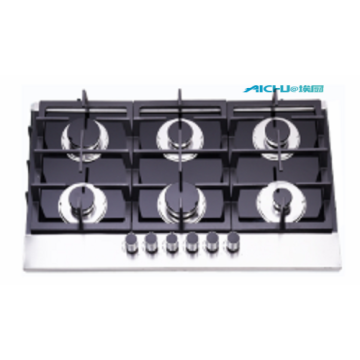 6 Burners Tempered Glass Gas Hob