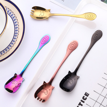 Cartoon  Pig Stainless Coffee Dessert Salad Spork