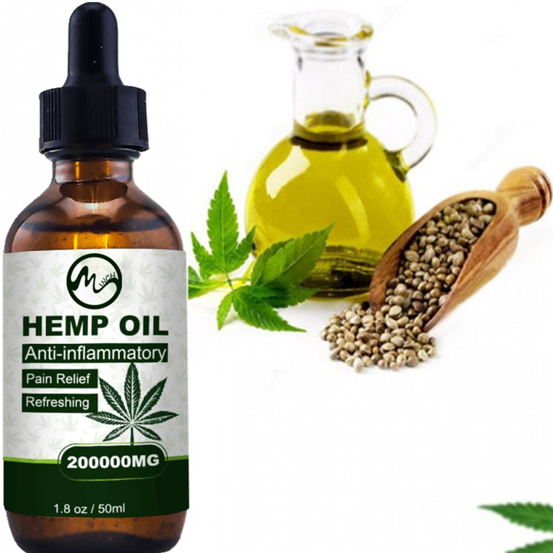 Minch 50ml CBD Pain Relief Oil Hemp Seeds Skin Oil 200000MG Extract Drop for Neck Pain Reduce Anxiety Better Sleep Essence