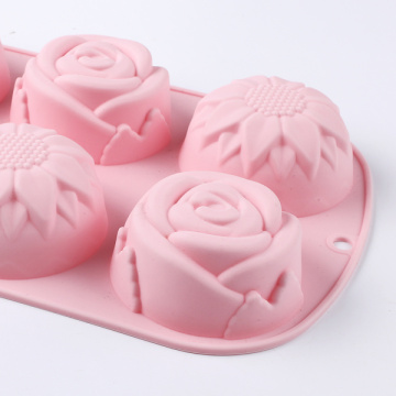 Pink Flower Silicone Cake Mold Tools