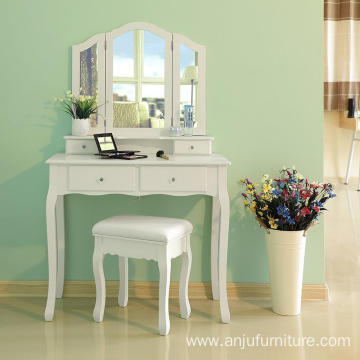 Wholesale Wood dressing table furniture with 3 folded mirrors 4 drawers and Cushioned Stool