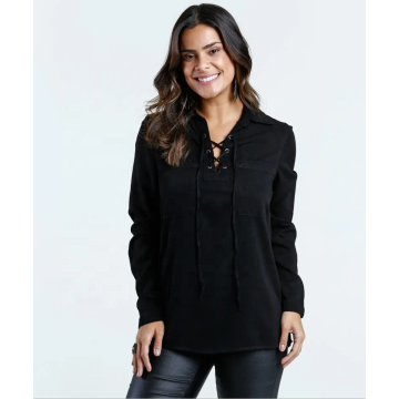 Crisscross V Neck Loose Fit Solid Long Sleeve